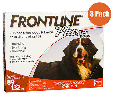 Frontline Plus Red For Dogs 89 - 132lbs--3 Month Supply FREE SHIPPING