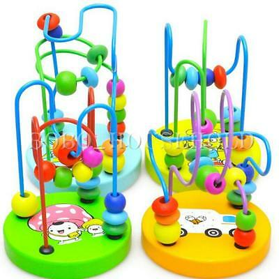 Colorful Wooden Toy Mini Around Beads Wire Maze Children Baby Educational Game