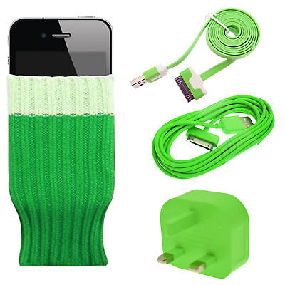 Green - Sock cover wall mains charging adapter 2 USB data sync cable for iPhone