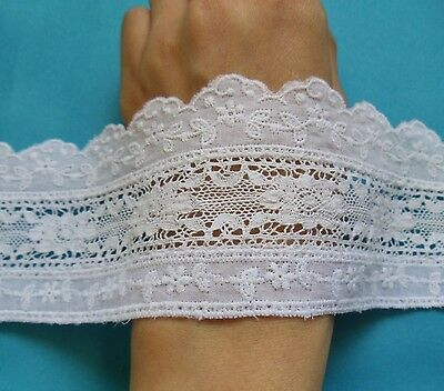 "2-5/8"" Exquisite White Venise + Embroidered Flower Cotton Lace Trim-1 Yard -T823"