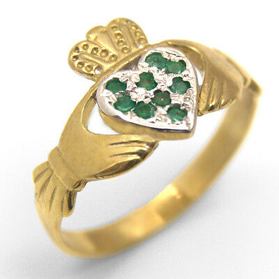 Emerald Set Claddagh Ring Solid 9ct Gold Fully Hallmarked (CL21)