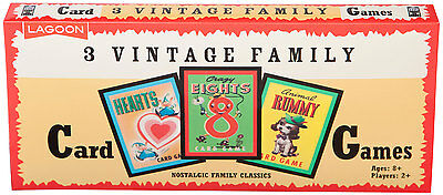 3 Vintage Family Card Games - Brand New Hearts, Animal Rummy, Crazy Eights