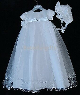 Baby Girls White or Ivory Satin Diamante Christening Gown & Bonnet  0-6 6-12 Mth