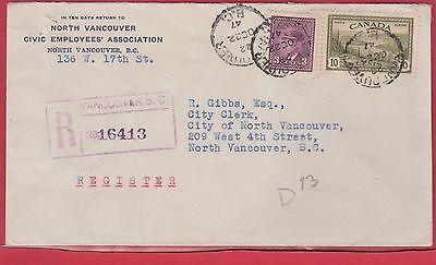 Peace Issue Vancouver B.C. 1947 backstamps Canada Registered cover