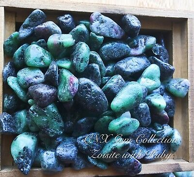 Tumbled Gemstone Crystal Chipstone Zoisite with Ruby 5g Rare Collectable