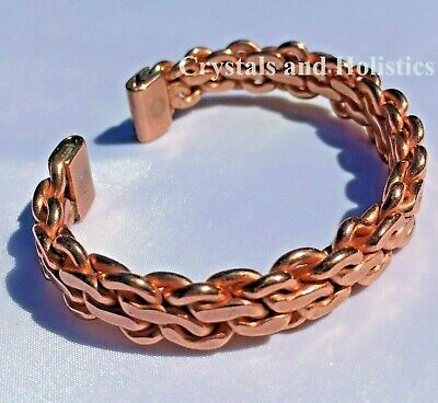 MAGNETIC Solid Copper Mans HEAVY KNIT Bracelet Healing Relief Arthritis MB96