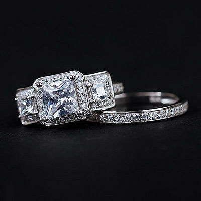 Princess Cut Wedding Engagement 1.25Ct Three-Stone 2 Pcs 925 Silver Ring Set