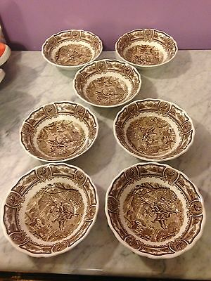 "Vtg Americana Style House JG Meakin China Lot 7 6"" Cereal Soup Bowls Paul Revere"