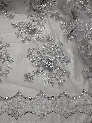 "WHITE MESH W/SILVER  EMBROIDERY SEQUIN RHINESTONE LACE FABRIC 50""  WIDE 11 YD"