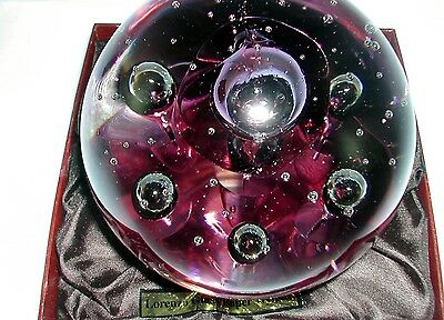 Dynasty Gallery Heirloom Collectibles Clear Purple Bubbles Glass Paperweight