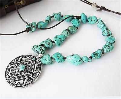 Lucky Brand Turquoise Nugget Medallion Necklace