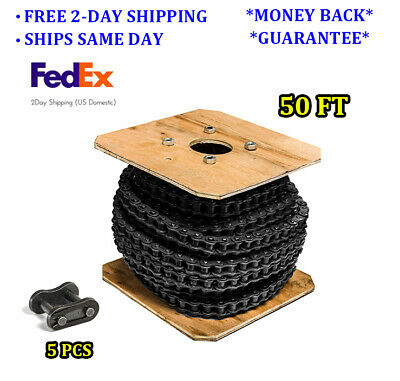 #40 Roller Chain 50 Feet with 5 Connecting Links