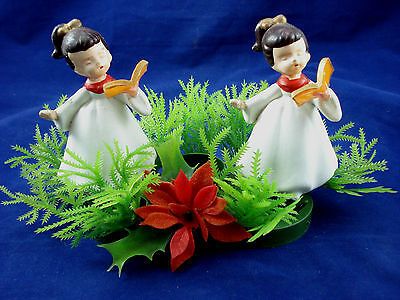 Vtg choir girls Christmas centerpiece candle holder Hong Kong soft plastic