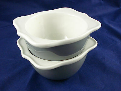 """Set (2) unusual shape Hall Pottery 5"""" bowls gray & white heavy china Excellent"""