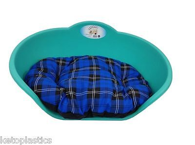 MEDIUM Plastic TEAL GREEN With BLUE TARTAN Cushion Pet Bed Dog Cat Sleep Basket