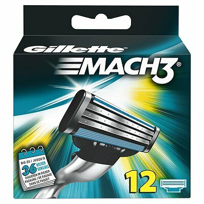 Gillette MACH3 Cuchillas, 12 unidades - Mach 3 Blades Cartridge Shaving - New