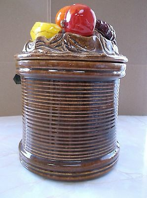 Vintage Cal Orig USA Covered Ceramic Canister and Lid with Fruit adornment