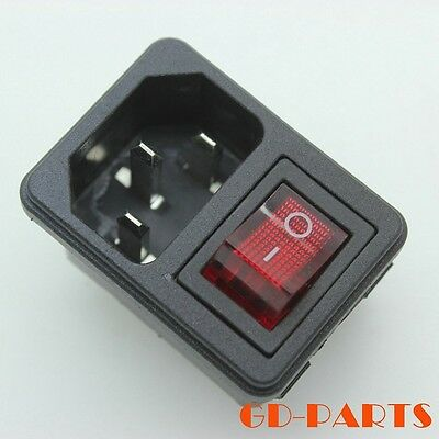 IEC320 AC Power cord Inlet Mains Power Receptacle With ON OFF Red Rocker Switch