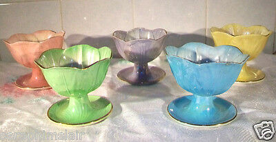 3 x Maling Harlequin Lustre Ware Mid-Century Sundae Dishes VGC~See Descrptn!