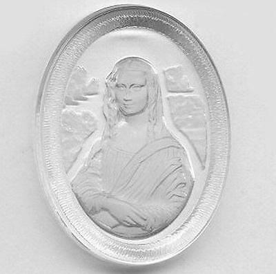 Vintage Stunning Reverse Carved MONA LISA Crystal Glass 30X40mm Cameo AR5