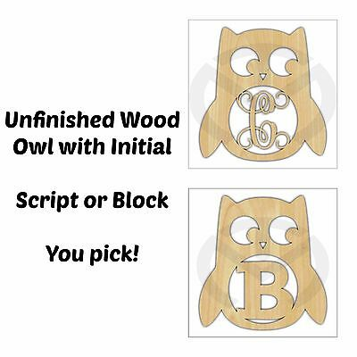 Owl Cut-Out with Initial, Laser-Cut, Unfinished Wood, Door/Home Decor