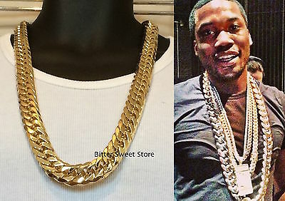 Solid 14K Yellow Gold Finsh Stainless Steel 18Mm Miami Cuban Link Chain Necklace