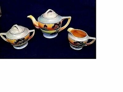 Antique Hand Painted Japanese Tea Pot & Creamer With Sugar Bowl (With 2 Lids)