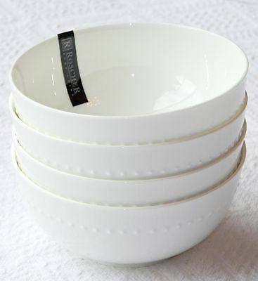 Set of 4 ROSCHER Fine Bone China White Beaded Hobnail SOUP BOWLS Dishes NWT