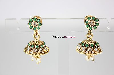 Small Green Jhumka Earrings Indian