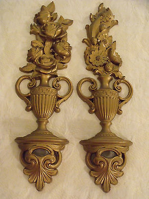 """Vtg Gold Gild Floral Urns Wall Plaques 1970 HI Syroco Pair 6""""x18"""" Hollywood Chic"""
