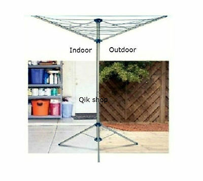 Rotary Airer Free Standing Indoor Outdoor 15m 3Arms Washing Line Clothes Line