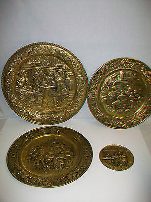 Lot 4 Vintage Pub Inn Scene Made in England Brass Metal Wall Decorations
