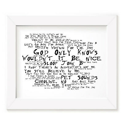 `Noir Paranoiac` THE BEACH BOYS Art Print Typography Song Lyrics Signed Poster