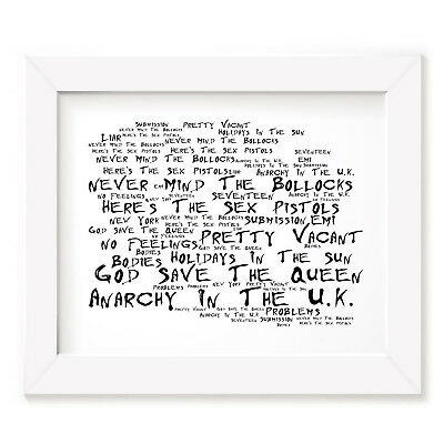`Noir Paranoiac` SEX PISTOLS Art Print Typography Song Lyrics Signed Wall Poster