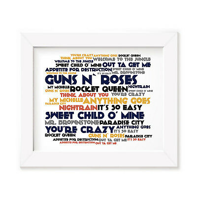 `Cadence` GUNS N ROSES Art Print Typography Album Song Lyrics Signed Wall Poster