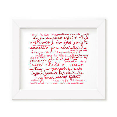 `Zephyr` GUNS N ROSES Art Print Typography Album Song Lyrics Signed Wall Poster