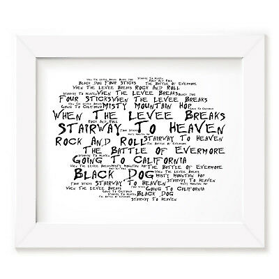 `Noir Paranoic` LED ZEPPELIN Art Print Typography Song Lyrics Signed Wall Poster