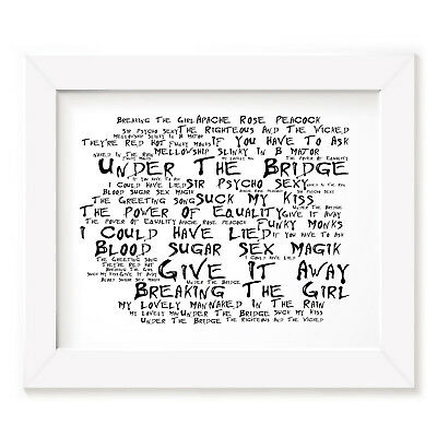 `Noir Paranoiac` RED HOT CHILI PEPPERS Art Print Typography Lyrics Signed Poster
