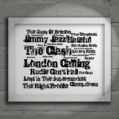 The Clash London Calling Signed Typography Wall Art Print Song Lyrics Poster