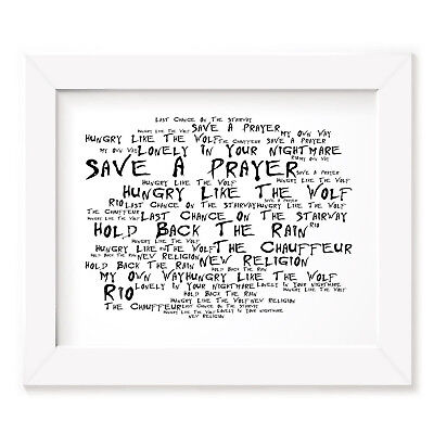 `Noir Paranoiac` DURAN DURAN Art Print Typography Song Lyrics Signed Wall Poster