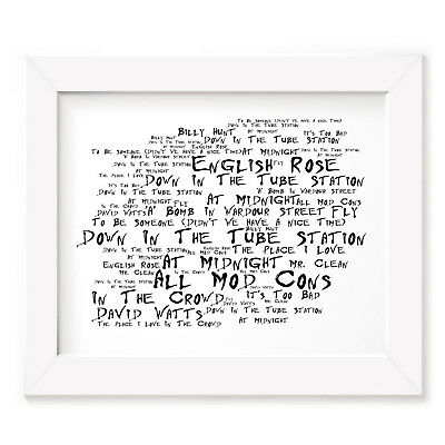 `Noir Paranoic` THE JAM Art Print Typography Song Lyrics Signed Wall Word Poster