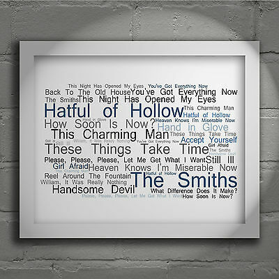 The Smiths Hatful of Hollow Signed Typography Wall Art Print Song Lyrics Poster