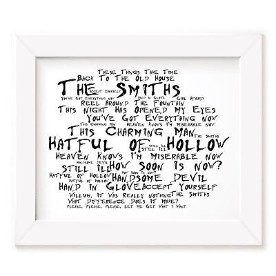 `Noir Paranoiac` THE SMITHS Art Print Typography Song Lyrics Signed Wall Poster