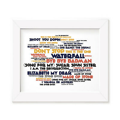 `Cadence` STONE ROSES Art Print Typography Album Song Lyrics Signed Wall Poster