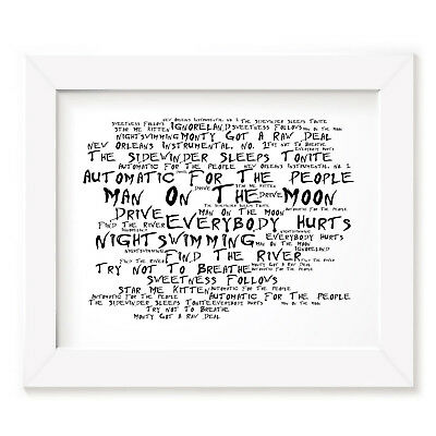 `Noir Paranoiac` REM Art Print Typography Album Song Lyrics Signed Wall Poster