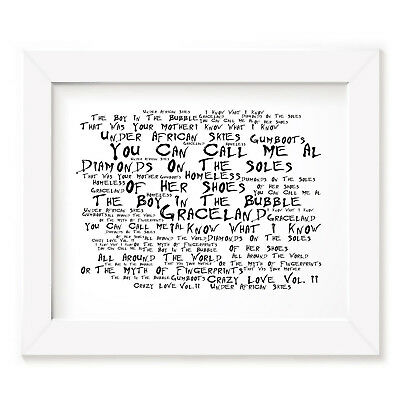 `Noir Paranoiac` PAUL SIMON Art Print Typography Song Lyrics Signed Wall Poster