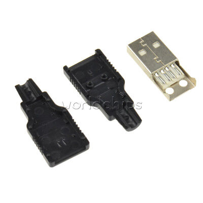 10PCS A Set USB2.0 Type-A 4pin Male Plug Socket Connector Adapter Plastic Cover