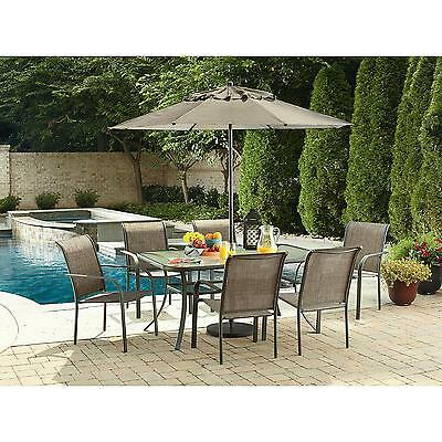 Outdoor Table Round Glass Dinning Patio Furniture Deck Pool Side Garden Steel