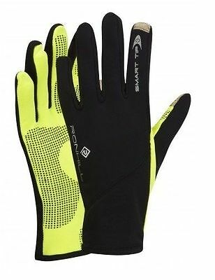 RONHILL SIROCCO RUNNING GLOVES Windproof Mobile SmartTip Black-Yellow (100041)