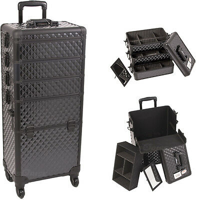 Rolling Makeup Case Aluminum 4n1 Cosmetic Organizer Storage Box Trolley Sunrise